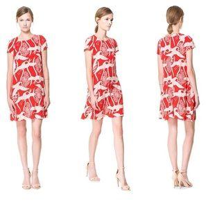 Zara Crane Print Mini Dress